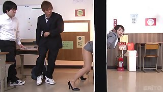 Asian slut Kaho Shibuya gets pressed against a wall and gets fucked