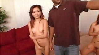 Cute Lana giving big black cock blowjob in interracial porn