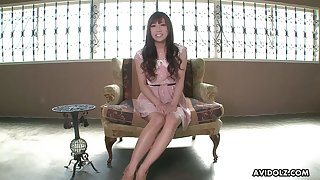 Giggling kawaii Japanese nympho gets her hairy pussy teased with trinket