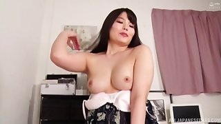 Amateur POV film over of Asian wife Nogi Chiharu giving a blowjob